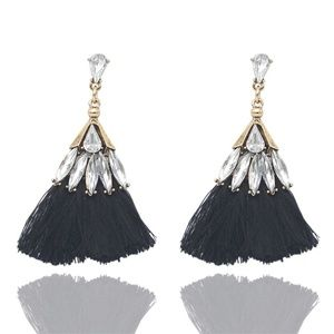 Earrings - Trixy Tassels Rhinestone and Black